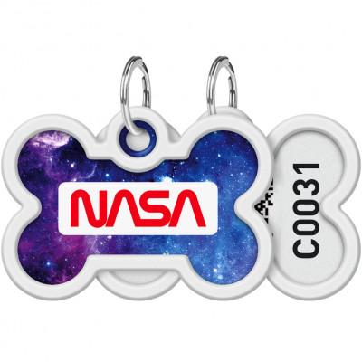 """Адресник для собак и котов металлический WAUDOG Smart ID c QR паспортом, рисунок """"NASA21"""", кость, 40х28 мм"""