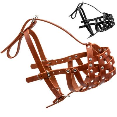 Кожаный намордник для собак КОЛЛАР твердый (боксер большой)