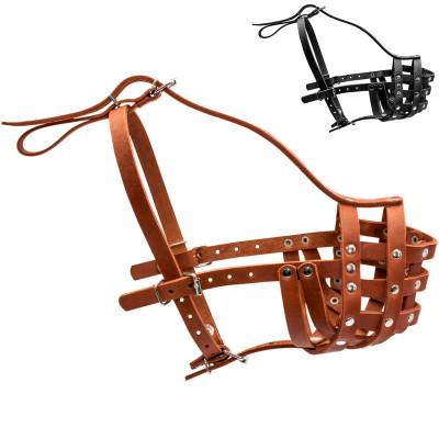 Кожаный намордник для собак КОЛЛАР твердый (ротвейлер малый)