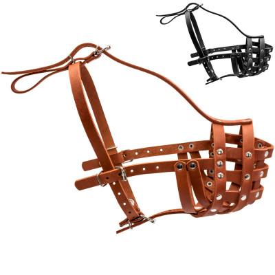 Кожаный намордник для собак КОЛЛАР твердый (ротвейлер большой)