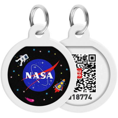 """Адресник для собак и котов металлический WAUDOG Smart ID c QR паспортом, премиум, рисунок """"NASA"""", диаметр 25 мм"""