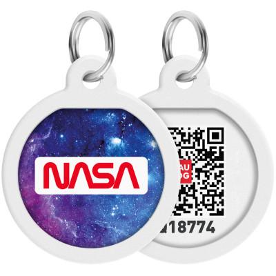 """Адресник для собак и котов металлический WAUDOG Smart ID c QR паспортом, премиум, рисунок """"NASA21"""", диаметр 25 мм"""