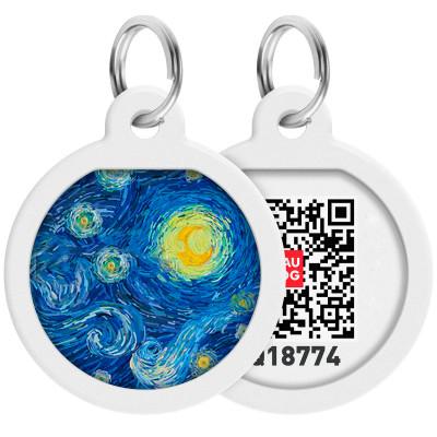 """Адресник WAUDOG Smart ID с QR паспортом, премиум, рисунок """"Водяные лилии"""", диаметр 25 мм"""