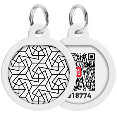"""Адресник WAUDOG Smart ID с QR паспортом, премиум, рисунок """"Геометрия"""", диаметр 25 мм"""
