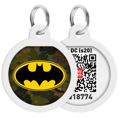 """Адресник WAUDOG Smart ID с QR-паспортом, дизайн """"Бэтмен зеленый"""", диаметр 25 мм"""