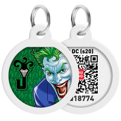 """Адресник WAUDOG Smart ID с QR-паспортом, дизайн """"Джокер зеленый"""", диаметр 25 мм"""