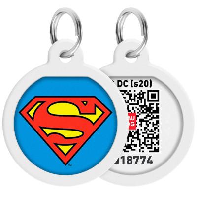 """Адресник WAUDOG Smart ID с QR-паспортом, дизайн """"Супермен-герой"""", диаметр 25 мм"""