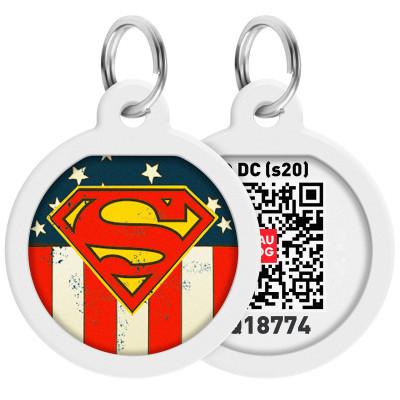 "Адресник WAUDOG Smart ID с QR-паспортом, дизайн ""Супермен Америка"", диаметр 25 мм"