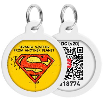 "Адресник WAUDOG Smart ID с QR-паспортом, дизайн ""Супермен винтаж"", диаметр 25 мм"