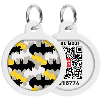 "Адресник WAUDOG Smart ID с QR-паспортом, дизайн ""Бэтмен узор"", диаметр 25 мм"