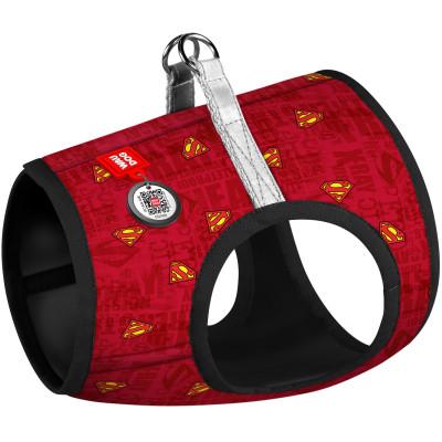 """Мягкая нейлоновая шлея для собак WAUDOG с QR паспортом, с рисунком """"Супермен красный"""""""