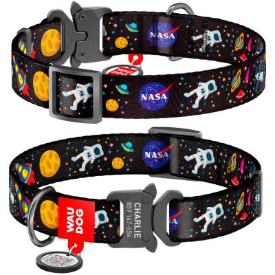 """Нейлоновый ошейник для собак WAUDOG Nylon с QR паспортом, с рисунком """"NASA"""", металлическая пряжка-фастекс с площадкой для гравировки"""