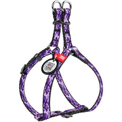 """Нейлоновая шлея WAUDOG Nylon с QR паспортом, с рисунком """"Фиолетовый камо"""" для мелких пород собак и котов 28-40 см 10 мм"""