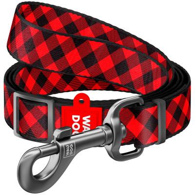 """Нейлоновый поводок для собак WAUDOG Nylon регулируемый, рисунок """"Шотландка красная"""" 152-183 см"""