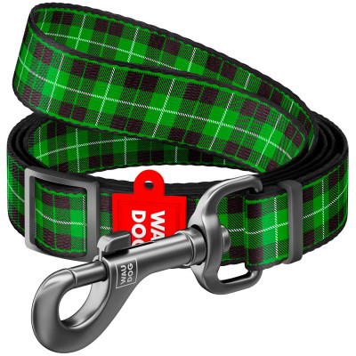 """Нейлоновый поводок для собак WAUDOG Nylon регулируемый, рисунок """"Шотландка зеленая"""" 152-183 см"""