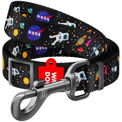 """Нейлоновый поводок для собак WAUDOG Nylon регулируемый, рисунок """"NASA"""" 152-183 см"""