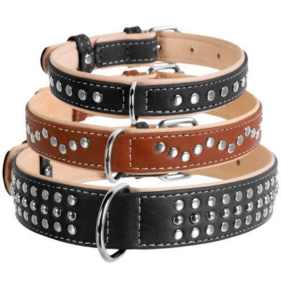 Кожаный ошейник WAUDOG SOFT (ВАУДОГ СОФТ) с металлическими украшениями для собак крупных, средних, мелких пород и щенков