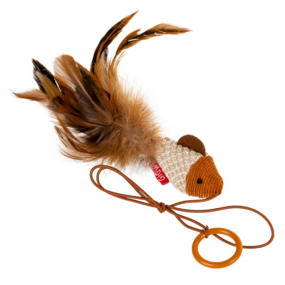 Игрушка для котов Дразнилка-рыбка на палец GiGwi Teaser, перо, текстиль, 7 см