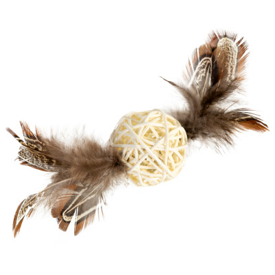 Игрушка для котов Плетеный мячик с колокольчиком и перьями GiGwi Catch&scratch, перо, дерево, 13 см