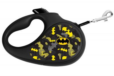 """Поводок-рулетка для собак WAUDOG с рисунком """"Бэтмен Узор"""""""