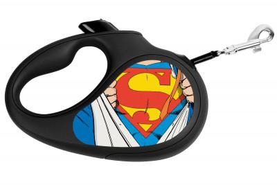 """Поводок-рулетка для собак WAUDOG с рисунком """"Супермен Герой"""""""