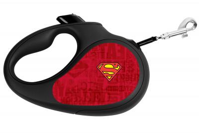 """Поводок-рулетка для собак WAUDOG с рисунком """"Супермен Лого Красный"""""""